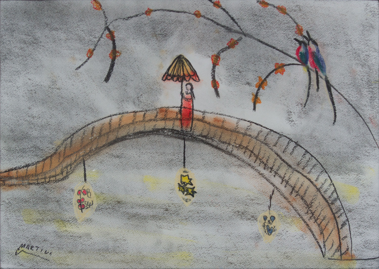 jardin japonais dessins au pastel sec martine cheval. Black Bedroom Furniture Sets. Home Design Ideas